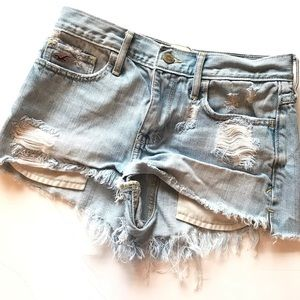 Hollister distressed jean denim raw edge shorts 25